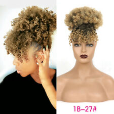 Afro Kinky Curly Drawstring Ponytail with Curly Bangs Puff Bun Hair Extensions