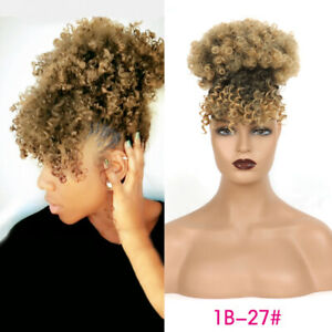 Afro Kinky Curly Puff Bun with Bangs Drawstring Ponytail Clip in Hair Extensions
