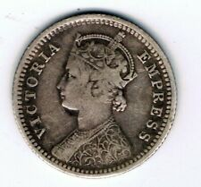 1896 India 1/4 Quarter Rupee silver coin : 2.8g