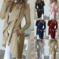 Womens Waterfall Cardigan Ladies Slim Fit Long Sleeve Blazer Coat Jacket Tops_ij