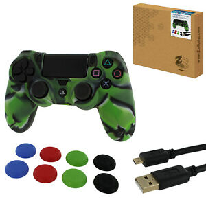 Protect & play kit for PS4 inc cover, thumb grips & cable - Camo Green | ZedLabz