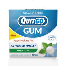 40 count QuitGo Nicotine-Free Gum to Stop Smoking Mint Burst Flavored