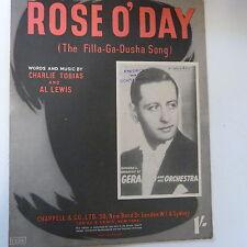 song sheet ROSE O' DAY, the filla-ga-dusha song, Geraldo 1941