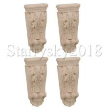 4pcs Wood Carved Unpainted Decal Corner Onlay Furniture Door Wall Home Decor