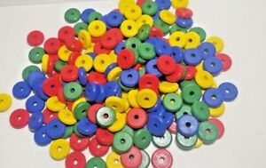 Beads Lot Educational Teaching Aid Wooden Wood Craft Red Yellow Blue Green