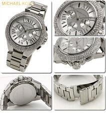 neu michael kors camille silver chrystal glitz chronograph damen uhr mk5634