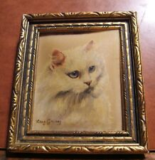 Persian cat miniature oil painting by English specialist artist Kay Gray