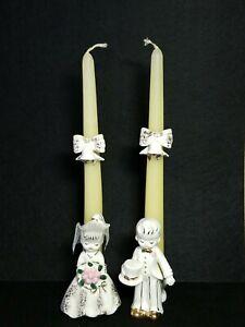 Vintage Wedding Bells Bride & Groom Tapered Candlestick Holders Porcelain Japan