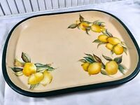 Vintage Metal Hand Painted Kitchen Tray LEMONS 1930s/40s Yellow & Green