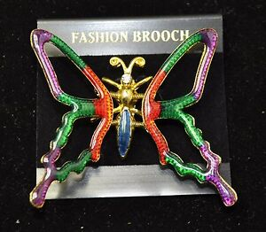 Vintage butterfly Style  Brooches Gold/multi color Bouquet  #437