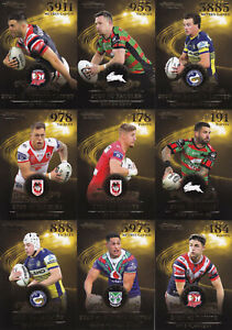 NRL 2021 RUGBY LEAGUE Traders - League Leaders Gold Case Cards Set (9) #RARE