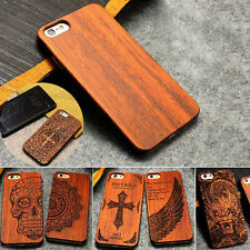 New Natural Wood Bamboo PC Case+Film For i Phone X 8 Plus 7 Cover Shell