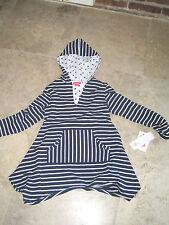 brand new kate mack little girls' sz 10 navy wht striped hoodie coverup nwt
