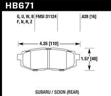 Hawk HP+ Rear Brake Pads For 06-16 Scion / Subaru #HB671N.628