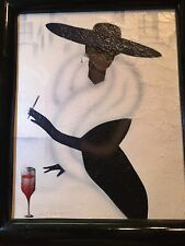 Signed PORTRAIT OF A WOMAN SMOKING AND A BIG HAT. Canvas Is 8x10 OIL PAINTING