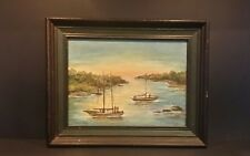 Vintage Original Framed Acrylic Painting - Sailboat - Florida Highwaymen
