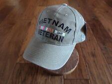 U.S Military Vietnam Veteran Hat Embroidered Military Ball Cap Khaki Stonewashed