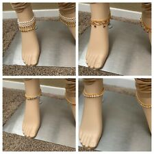 INDIAN PAYAL BAREFOOT BRACELET KUNDAN ANKLE JEWELRY DIFFERENT STYLE GOLD PLATED