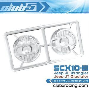 Scale OEM Front Headlight Lens for SCX10 III Jeep JL Wrangler / JT Gladiator