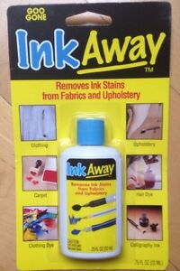 INK AWAY FROM GOO GONE, removes ink stains from fabrics and upholstery.