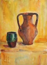 Vintage watercolor drawing still life jug and mug