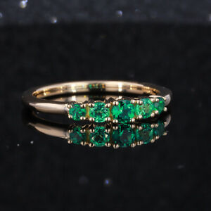 Five Stone Round Cut Green Emerald Solitaire Engagement Ring 14K Rose Gold Over
