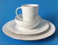 Charter Club Grand Buffet 4 Pc Place Setting Fine Line Gold Plates Bowl Mug