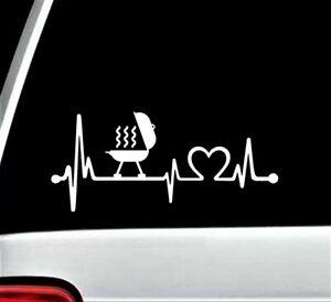 Grill Heartbeat Lifeline Decal Sticker Car Window Grilling Gas Propane BG 438