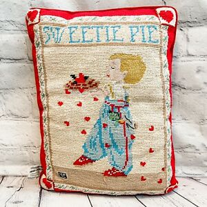 Mary Engelbreit Christmas Needlepoint Cross Stitch Pillow Sweetie Pie Heart Red