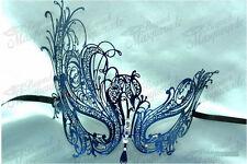 Womens Swan Filigree Light Metal Venetian Mardi Gras Masquerade Mask [Blue]