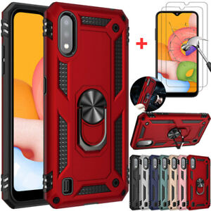 For Samsung Galaxy A01 Shockproof Armor Ring Stand TPU Case Cover+Tempered Glass