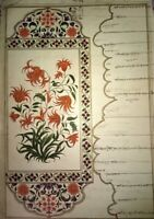 Indian Old Mughal Floral Border Handmade Miniature Painting On Old Paper
