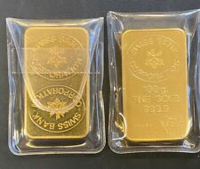 Vintage 2 x 100gm Gold Bar Swiss Bank Corporation, Close Sequentially # Bars