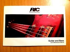 RICKENBACKER GUITAR & BASS CARE & MAINTENANCE MANUAL-ORIGINAL COPY-IN USED COND!