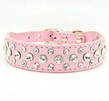 Bling Rhinestone Crystal Diamond Small Pet Dog Cat Puppy Leather Collar S M L XL
