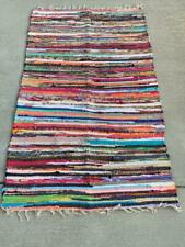 Handwoven Multi Chindi Rug Cotton Bohemian Rug Hippie Carpet Hand Braided 3'x5'