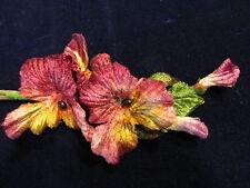 """Velvet Millinery Flower Pansy 2"""" Burgundy Yellow Pink for Hat Wedding + Hair Nv4"""