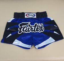 SHORTS FAIRTEX MUAY THAI FIGHT KICK BOXING MMA BLUE BLACK M SATIN BS0612