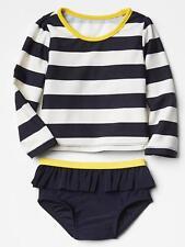 GAP Baby / Toddler Girl 12-18 Months Blue White Nautical Rashguard Bathing Suit