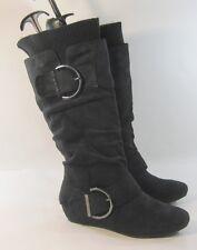 """Blacks 1.5""""low hidden HEEL  side buckle sexy knee boots  Size  9"""