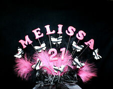 GLITTER Name,  Age,  ZEBRA Butterfly feather  Birthday Cake Topper, personalised