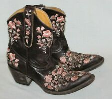 Old Gringo Womens Boots Cowboy Sora Ankle Floral Embroidered Leather Brown 7.5