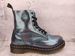 Dr Doc Martens Boots Womens Size 7 EUR 38 Pascal Glitter Rainbow Sparkle Combat