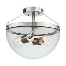 Globe Electric Belsize 2-Light Brushed Steel Semi-Flush Mount Ceiling Light
