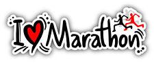 "I Love Marathon Sport Slogan Car Bumper Sticker Decal 8"" x 3"""