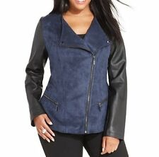 Alfani Moto Jacket Woman Sz 1X VSF Navy Blue Black Pleather Suede Motorcycle