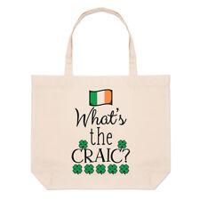 what's THE CRAIC Grande Bolso Playa Bolsas - Divertido Irlanda Irlandés Bandera