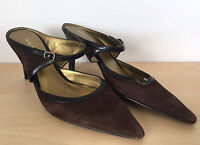 NINE WEST Womens Brown Suede Leather Pointed Toe Slip On Heels Pumps Size 8 M