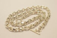 Taxco Mexican Long 925 Sterling Silver Cable Chain Necklace. 103.5g, 71cm, 28""