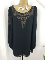 Planet Dress Tunic Boat Neck Beaded Long Sleeves Party Occasion Black Size UK 12